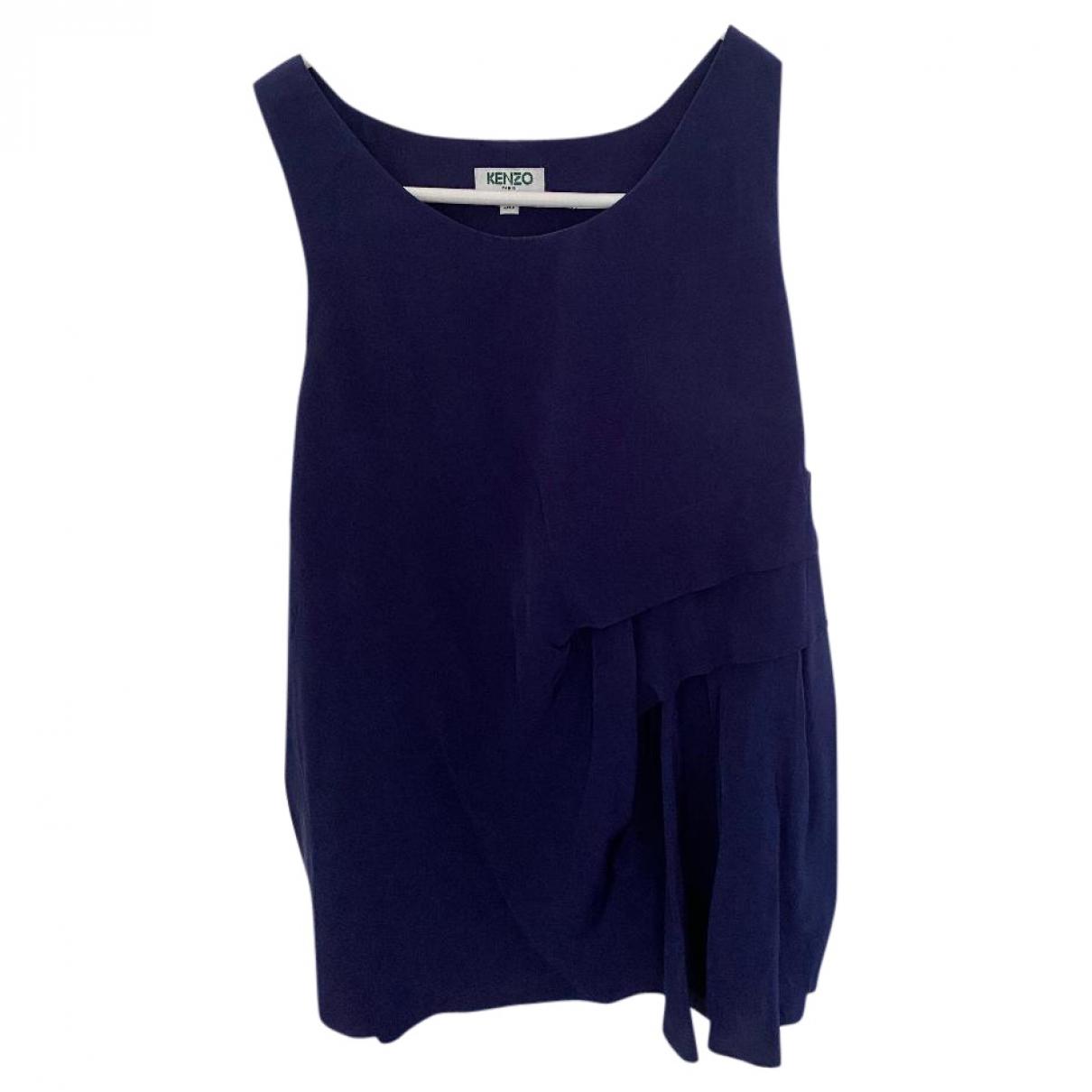 Kenzo - Top   pour femme en soie - bleu