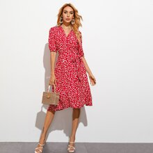 All Over Print Puff Sleeve Belted Wrap Dress