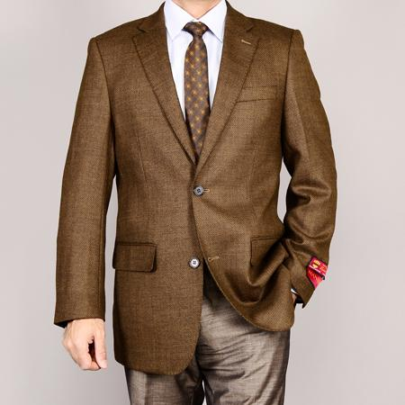 Mantoni Mens Brown 2Button Wool Sport Coat