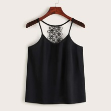 Guipure Lace Panel Solid Cami Top