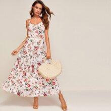 Cami Kleid mit Rueschenbesatz und Blumen Muster
