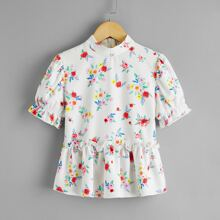 Girls Floral Print Peplum Top