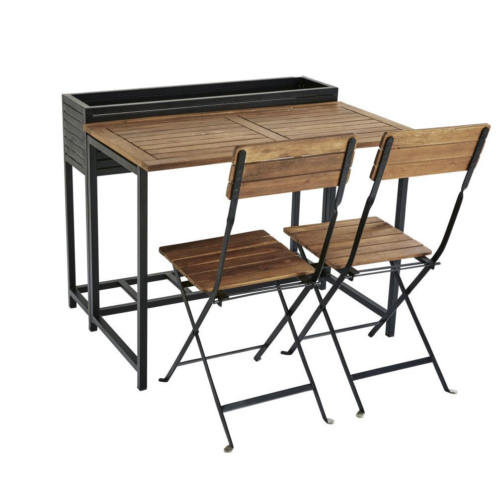 Gartentisch und 2 Stuehle aus massivem Akazienholz und schwarzem Metall Calathea