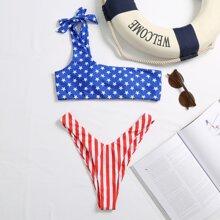 Bikini Badeanzug mit amerikanischer Flagge Muster und hohem Beinschnitt