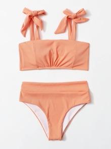 Rib Tie Shoulder Bikini Swimsuit