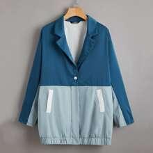 Abrigo de color combinado de cuello V