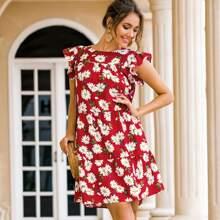 Babydoll Kleid mit Raffung und Blumen Muster