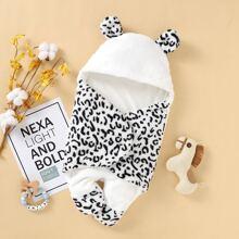 Baby Unisex Graphic 3D Ear Design Flannel Jumpsuit