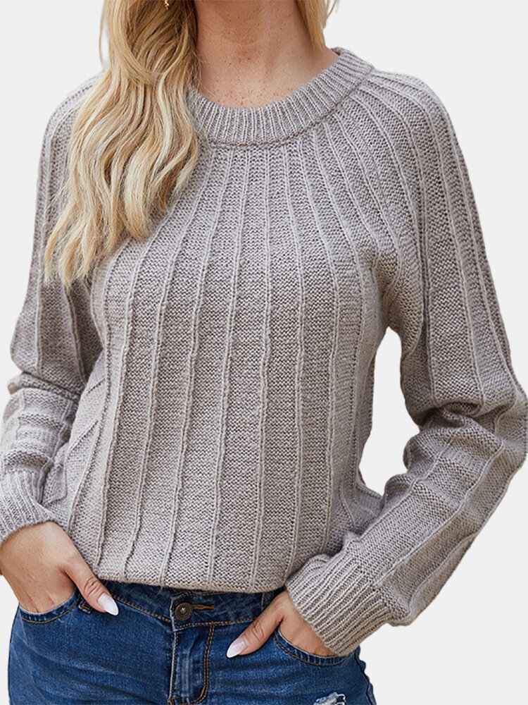 Solid Color Long Sleeves O-neck Casual Sweater