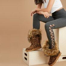 Faux Fur Trim Leopard Snow Boots