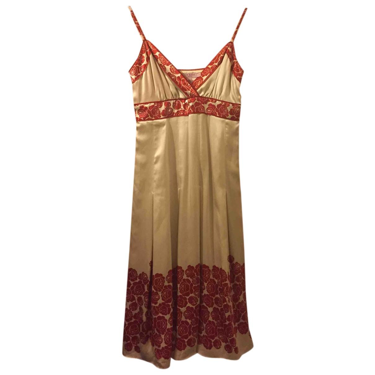 Ted Baker N Gold Silk dress for Women 10 UK