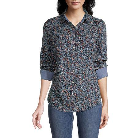St. Johns Bay Womens Long Sleeve Regular Fit Button-Down Shirt, Petite Small , Blue
