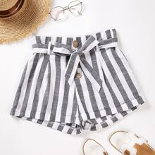 Vertical Striped Belted Button Fly Shorts