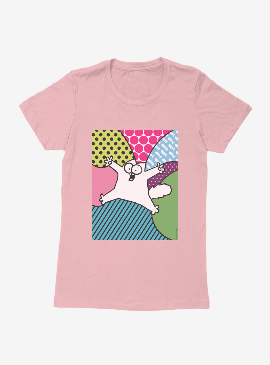 Simon's Cat Polka Dot Background Womens T-Shirt