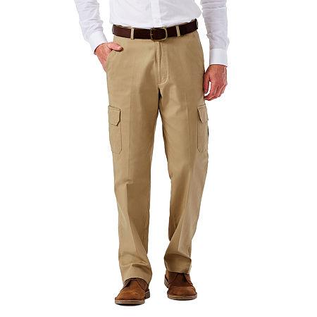 Haggar Stretch Comfort Cargo Classic-Fit Flat-Front Pants, 38 29, Beige