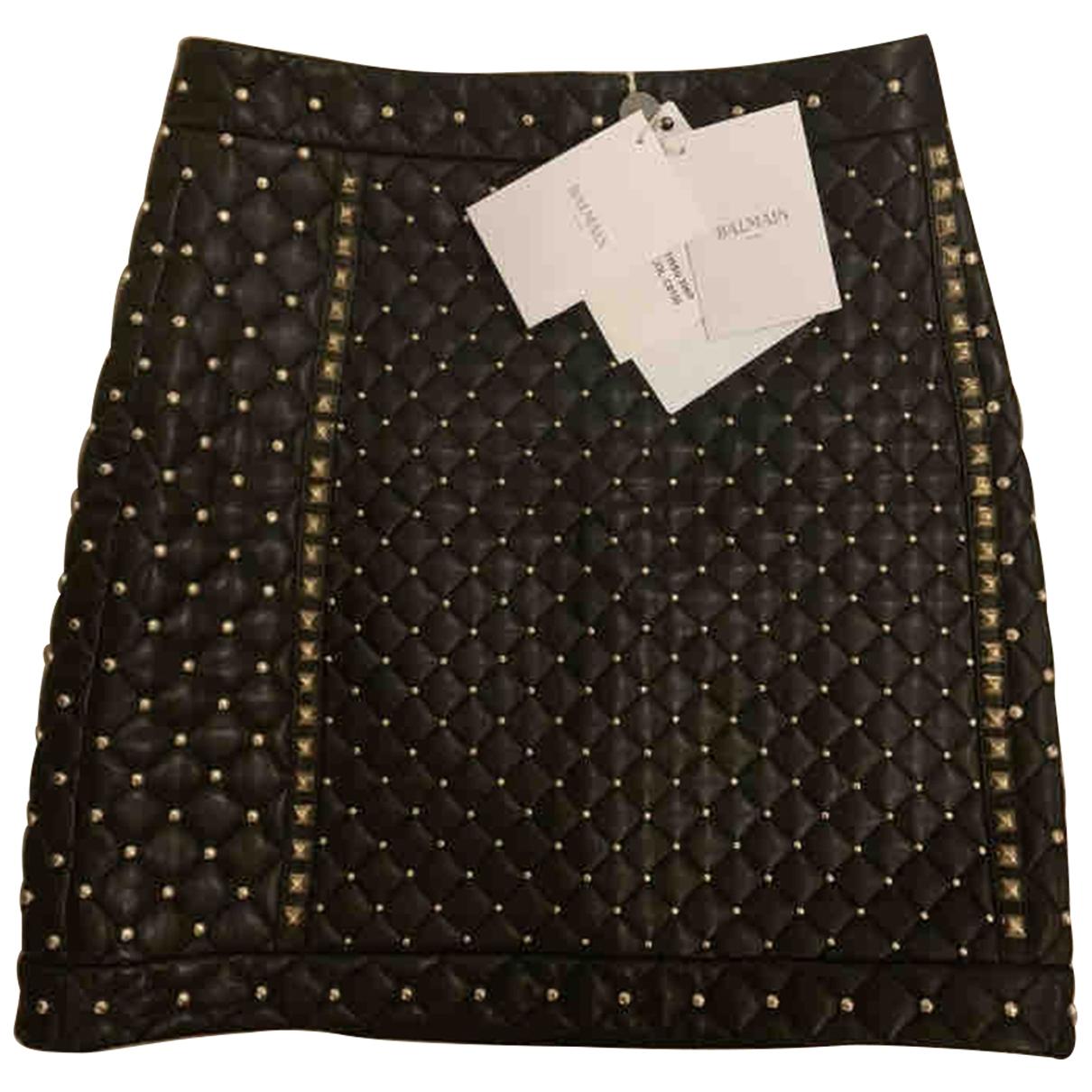 Balmain \N Black Leather skirt for Women 10 UK