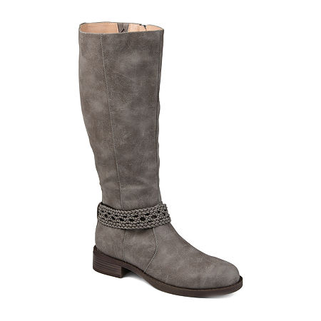 Journee Collection Womens Paisley Extra Wide Calf Stacked Heel Riding Boots, 7 Medium, Gray