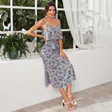 Split Hem Belted Floral Cami Dress