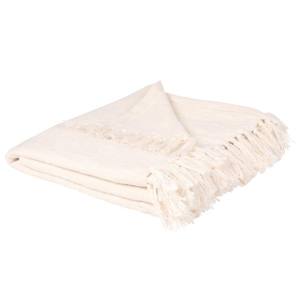 Decke aus Baumwolle mit Fransen, naturweiss 160x210