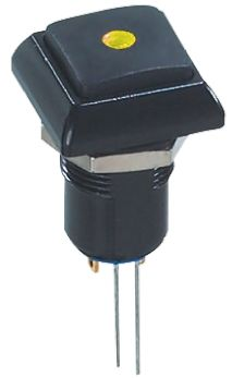 APEM Latching Yellow LED Push Button Switch, IP67, 13.6 (Dia.)mm, Panel Mount, 48V ac