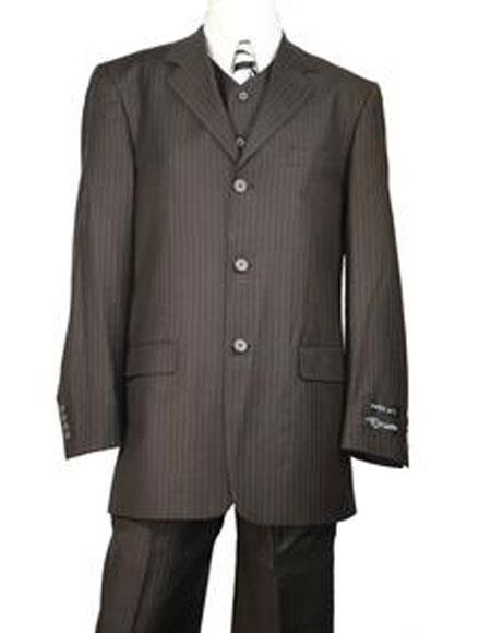 Very Dark Brown ~ Almost Charcoal Black ~ Stripe Wool 3 buttons Suit