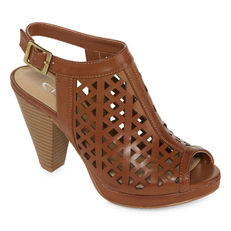 CL by Laundry Wishes Womens Heeled Sandals, 9 1/2 Medium, Brown