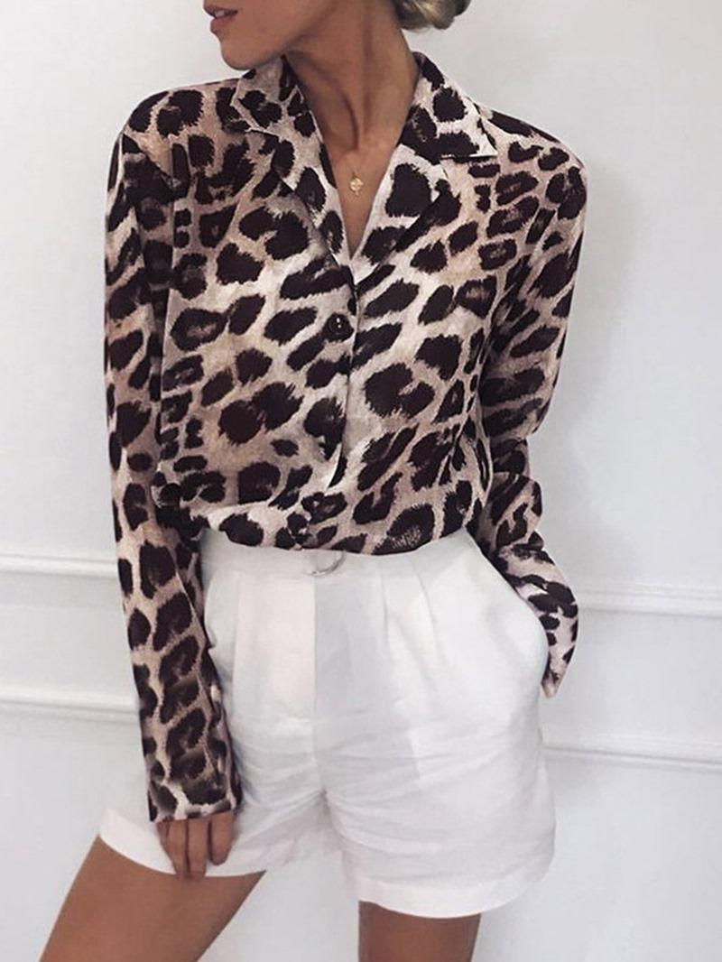 Ericdress Print Regular Leopard Mid-Length Blouse