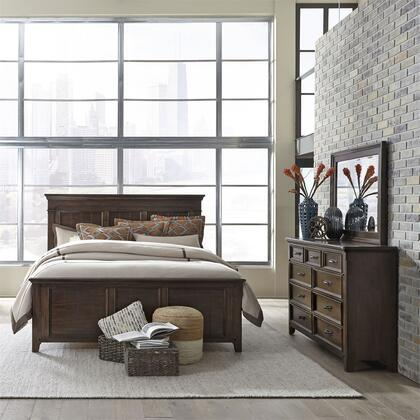Liberty Furniture 184-BR-KPBDM 3 Piece Bedroom Set with King Size Storage Bed  Dresser and Mirror  in Tobacco