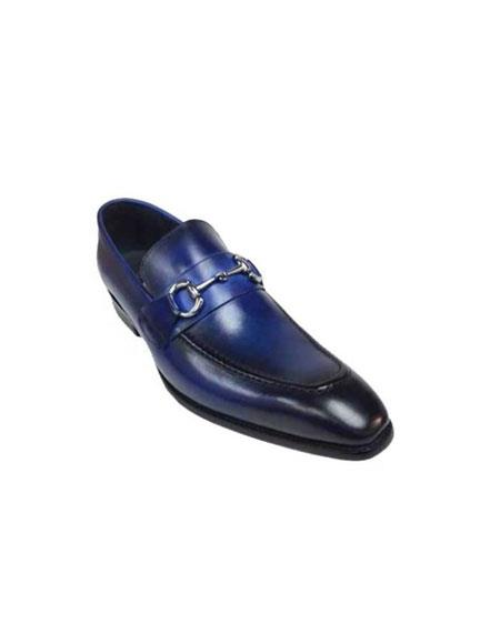 Mens Slip On Leather BlueFashionable Shoe With Top Silver Buckle