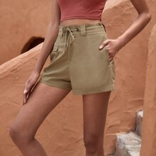 Drawstring Waist Flap Pocket Shorts