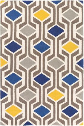 HDA2385-811 8' x 11' Rug  in Medium Gray and Cream and Mustard and