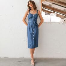 Button Front Belted Cami Denim Dress