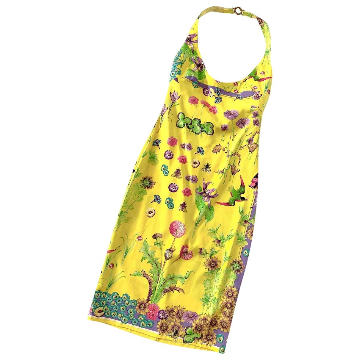 Versace \N Kleid in  Gelb Seide