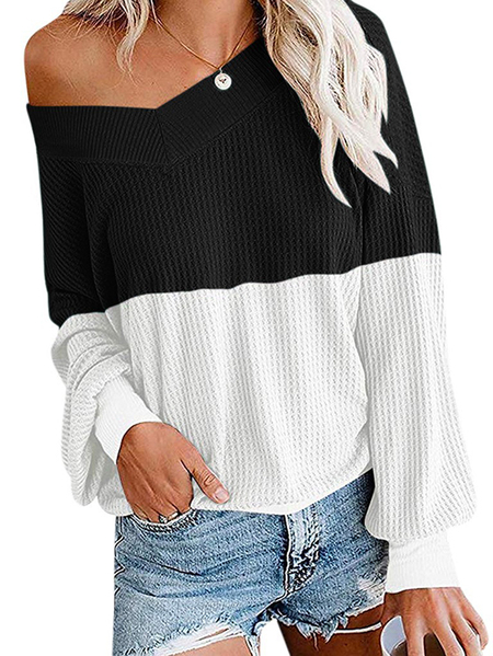 Yoins Patchwork V-neck Long Sleeves Sweater