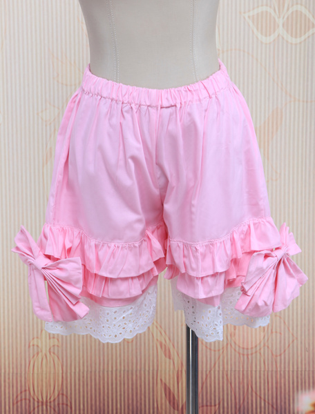 Milanoo Cotton Pink Lace Lolita Bloomers