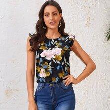Ruffle Trim Floral Print Top