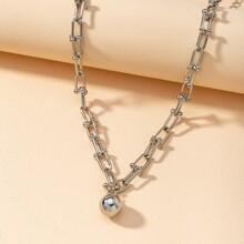 Halskette mit rundem Ball Anhaenger