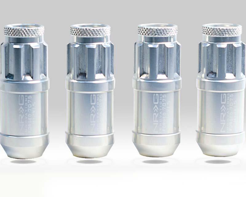 NRG LN-L70SL Silver with NRG LN-L70SL Cap 4 Piece M12 x 1.5 Lug Nut Lock Set Universal