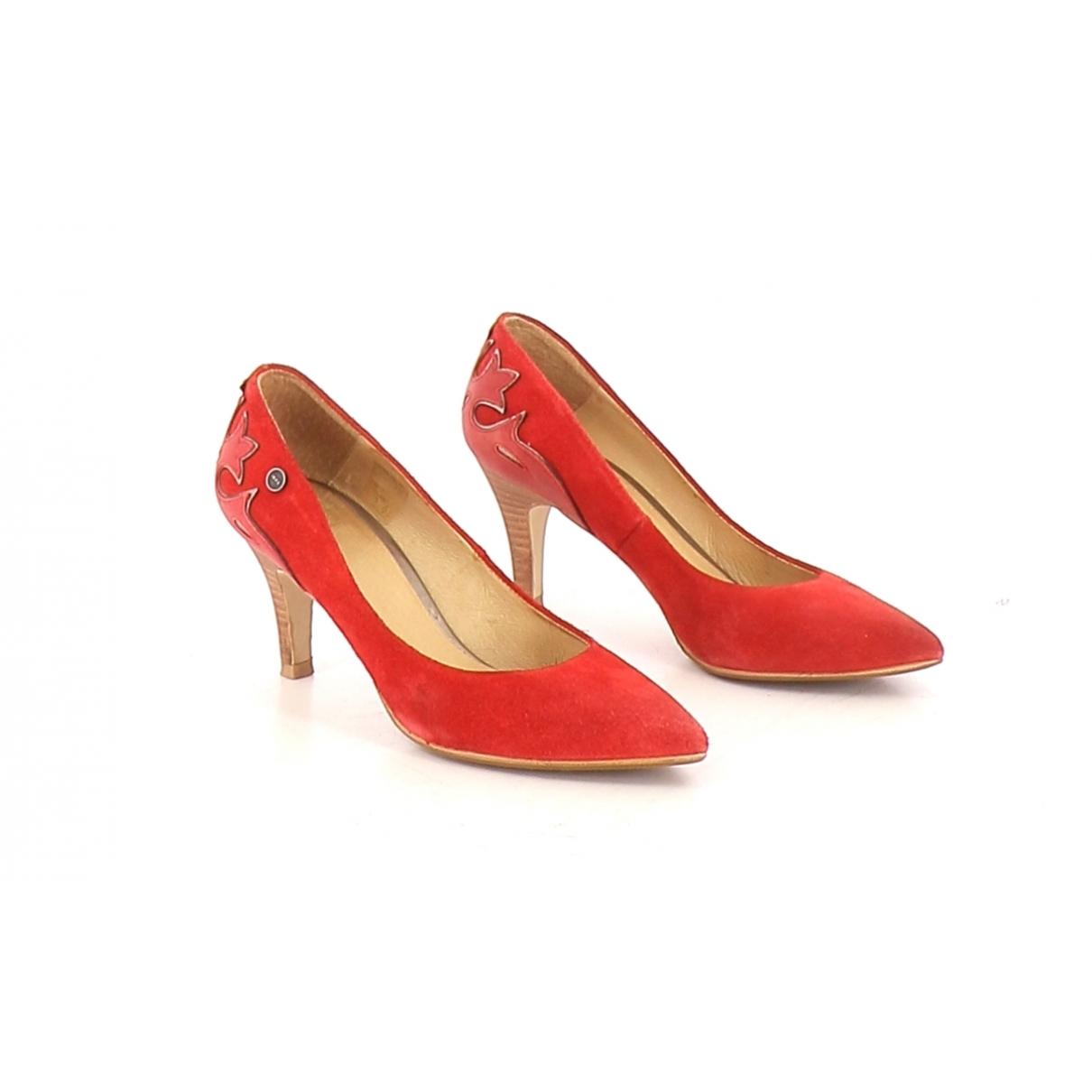 Ikks - Escarpins   pour femme en cuir - rouge