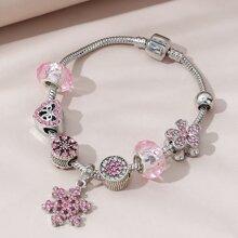 Rhinestone Flower Detail Bracelet