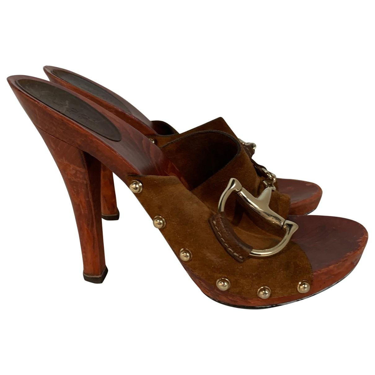 Gucci \N Brown Suede Mules & Clogs for Women 38.5 EU