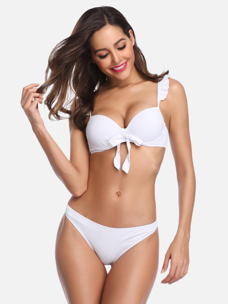 Sexy Ruffle Bandage Backless Wireless Bikinis For Newchic