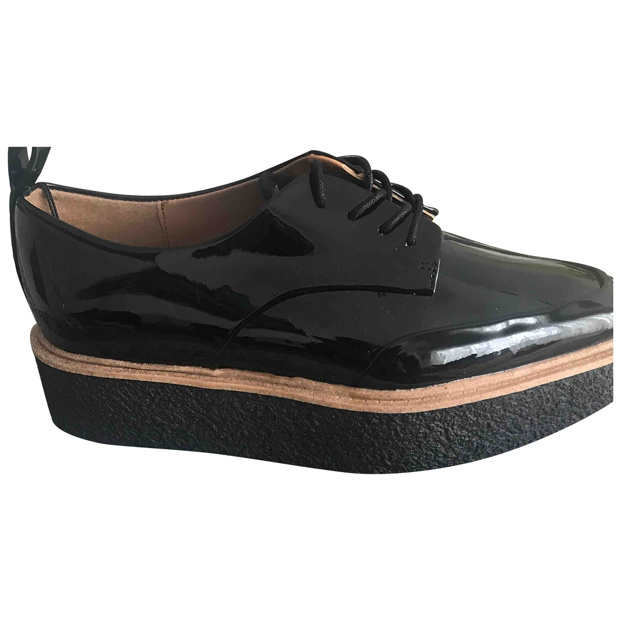 Zara - Derbies   pour femme en cuir - noir