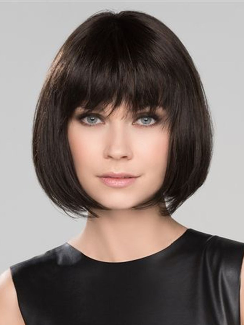 Ericdress Short Bob Hairstyles Womens Natural Looking Straight Synthetic Hair Wigs With Bangs Capless Wigs 12Inch
