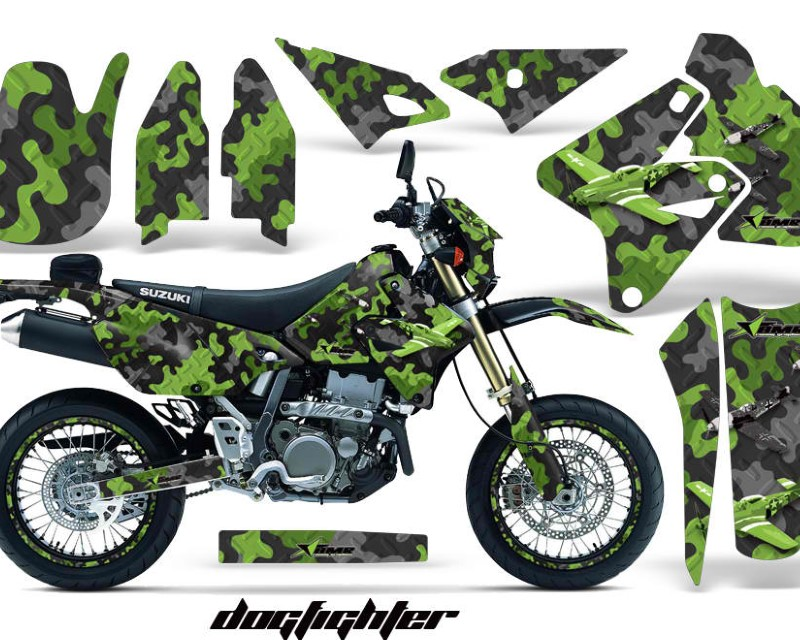 AMR Racing Graphics MX-NP-SUZ-DRZ400SM-00-18-DOG G Kit Decal Sticker Wrap + # Plates For Suzuki DRZ400SM 2000-2018 DOG FIGHT GREEN