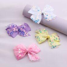 4pcs Toddler Girls Bow Decor Hair Clip