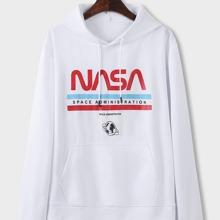Hoodie mit Buchstaben Grafik, Kaenguru Taschen und Kordelzug