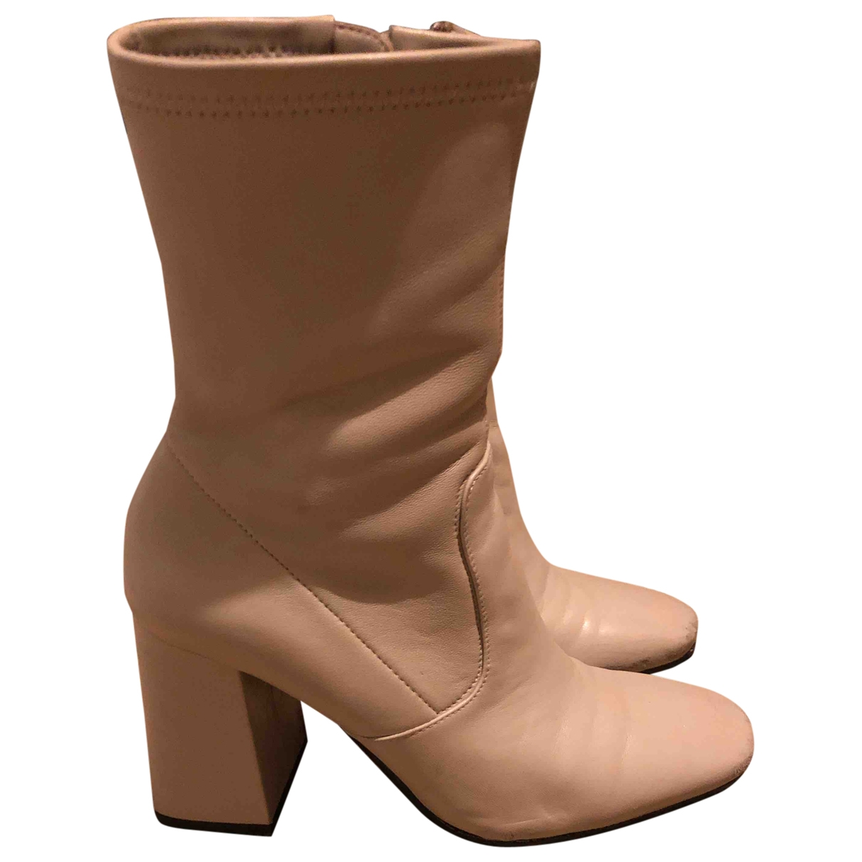 Uterque \N Beige Leather Ankle boots for Women 37 EU