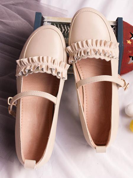 Milanoo Sweet Lolita Pumps Cowhide Frill Lolita Footwear
