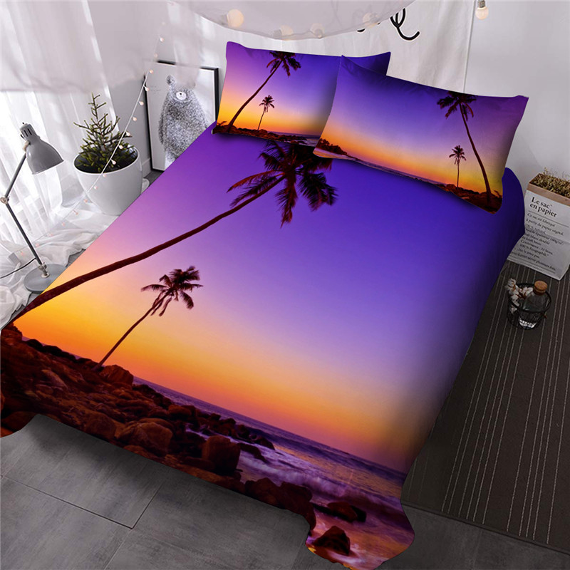 Palm Tree and Sunset 3D Reactive Printing Comforter Set Hand Wash Three-Piece Set Polyester Bedding Sets Endurable Skin-friendly All-Season Ultra-soft